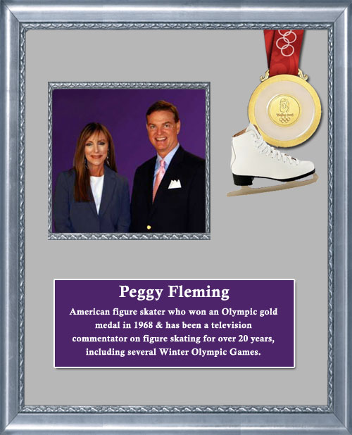 Craig Keeland with Peggy Fleming an American Figure Skater who won an Olympic Gold Medal